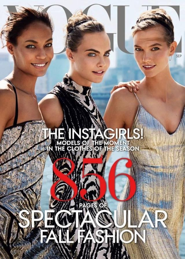 Left to right: Joan Smalls, Cara Delevingne and Karlie Kloss