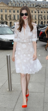 Anne Hathaway in White Dress at Paris Fashion Week-04