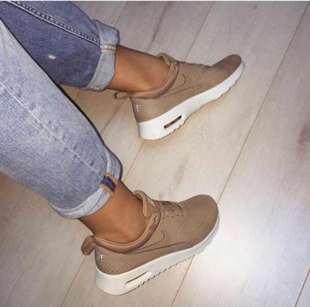 vyoize-l-610x610-shoes-nike-beige-sneakers-tan-nikes-running+shoes-brown-cream-nike+shoes-caramel-sports+shoes-classy-trainers-nike+bege-air+max+thea-white-sportswear